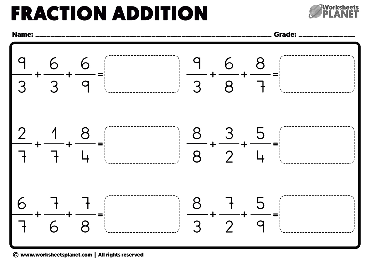 Adding Fractions With Unlike Denominators Worksheets Pdf Adding fractions worksheet pdf